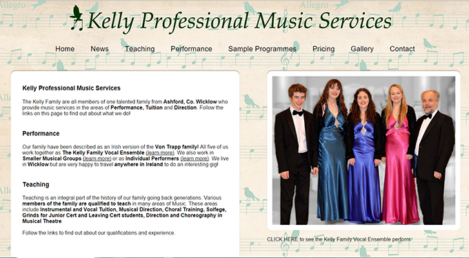 Kelly Professional Music Services Website